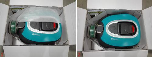 Il robot tagliaerba SIleno Gardena nella sua scatola