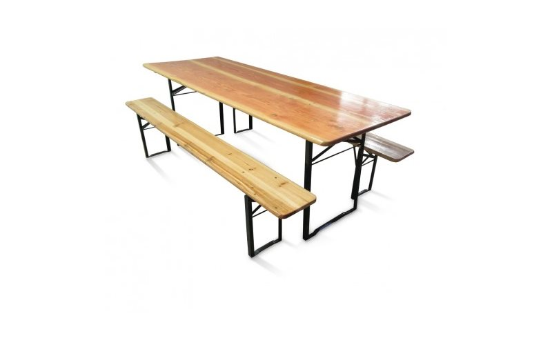 Set birreria: tavolo e panche ripiegabili in abete