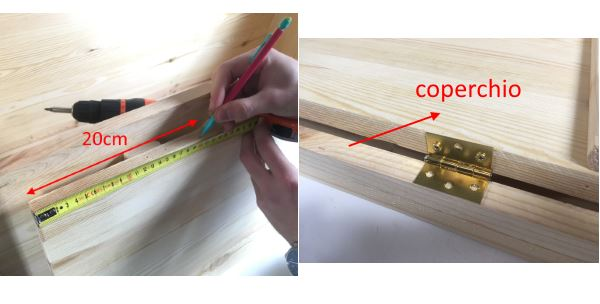 Prendere misure e fissare cerniere al coperchio in legno